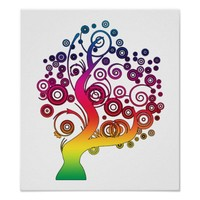 Colorful Rainbow Abstract Whimsy Tree Poster Art