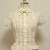 Bustier-like Switched Blouse (Solid Color) - Metamorphose Elegant Gothic Lolita Fashion