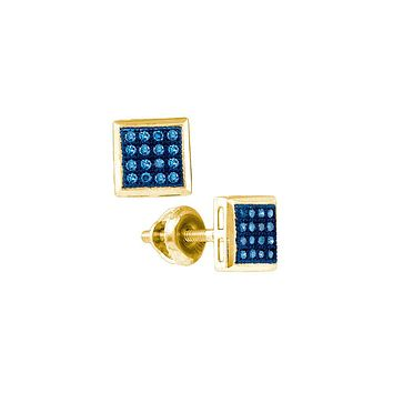10k Yellow Gold Womens Blue Colored Diamond Square Cluster Screwback Stud Earrings 1/10 Cttw