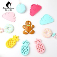 Baby silicone teether ginger cookies teething pineapple chewable cloud toy BPA Free