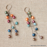 Pearl Dangling Earrings,Colorful Freshwater Pearls Hang on Silver Chains,Women's Gift Jewelry,4-5mm Pearls