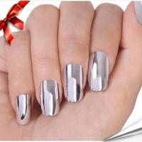 So Beauty Nail Art Polish Silver Metallic Foil Sticker Patch Wraps Tips 16pcs
