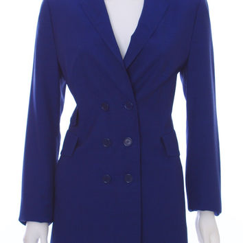 AKRIS PUNTO Royal Blue Double Breasted Wool Blazer Size 10