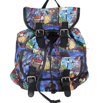 Disney Beauty And The Beast Stained Glass Slouch Backpack
