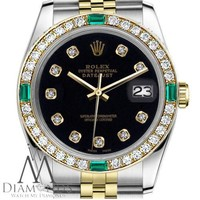 Ladies Rolex 31mm Datejust 2 Tone Black Color Diamond Accent Dial Emerald Watch