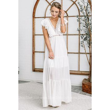 Queen Of Everything Lace & Ruffle Maxi Dress