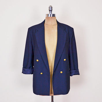 Navy Blue Blazer Jacket Navy Blazer Military Blazer Gold Crest Button Shrunken Tiny Fit Skinny Fit Boyfriend Blazer 80s Blazer S Small