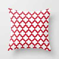 red and white Throw Pillow by Beverly LeFevre