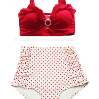 Red Top and Polka dot dots Ruched High waist waisted High-waist Bottom Vintage Retro Swimsuit Swimwear Bikini Swim Clothing Swimsuits M L
