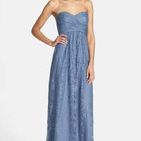 Women's Amsale Pleated Lace Sweetheart Gown
