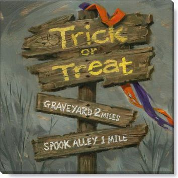 Halloween Gallery Wrap on Wood Frame ~ Trick or Treat Sign