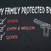 My Family Protected on Black Pre-Shrunk Gildan Unisex T-Shirt, 100% Cotton.