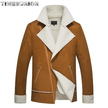 Winter Trend New Style Oblique Zip Jackets Men Warm Pure Color Patent Leather Jacket Lamb Lamb Lapel Jaqueta Masculina
