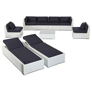 2015 Patio Furniture 9 Piece Sofa Set and Chaise Lounge, White Wicker/Navy
