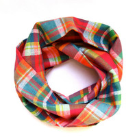 Toddler Girls Scarf Plaid Flannel Scarf Childs Winter Scarf Pink Turquoise Orange White Ready to Ship