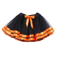 Girls Black And Orange Halloween Pettiskirt Bowknot Tutu