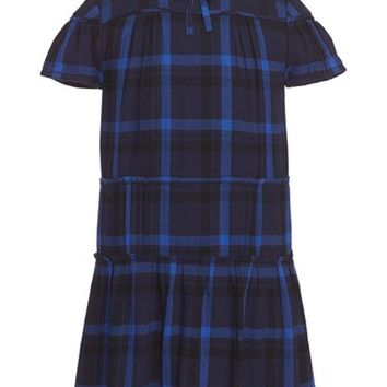 Girl's Burberry 'Mini Jacquie' Plaid Drop Waist Dress,