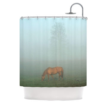 "Angie Turner ""Horse in Fog"" Blue Mist Shower Curtain"