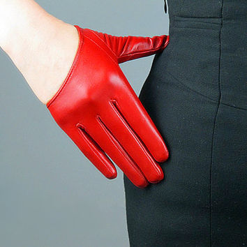Real Leather Half Palm Short Gloves - Red - Sheepskin - Women - Winter Fall - Handmade Genuine Leather