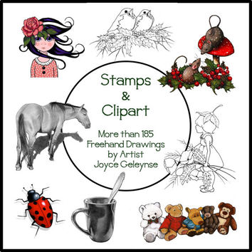 CD Rom of Hand-Drawn Clipart, Stamps, and Realistic Pencil Drawings, 185+ Original Images, Commercial Use, Animals, Flowers, Christmas, Food