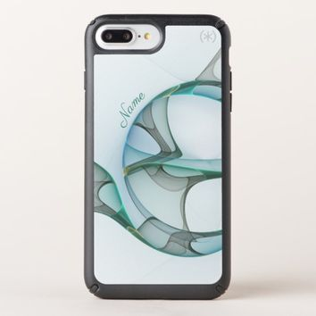 Fractal Art Blue Turquoise Gray Abstract Name Speck iPhone Case