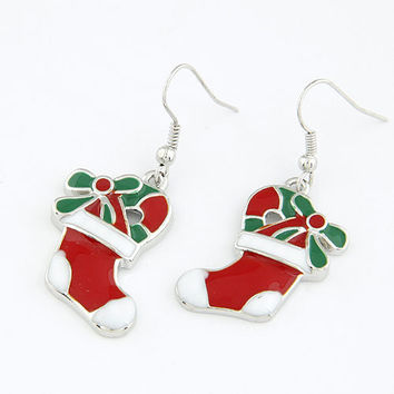 Christmas Boots Earrings Drop Dangle Earring, Christmas Present, Christmas Jewelry, Gift for Family in Christmas ,Party Jewelry 13010228