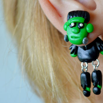 Frankenstein earrings,Halloween jewelry,funny Halloween Earrings,Monster ear jackets,two piece stud,clinging earrings,unusual fake gauge