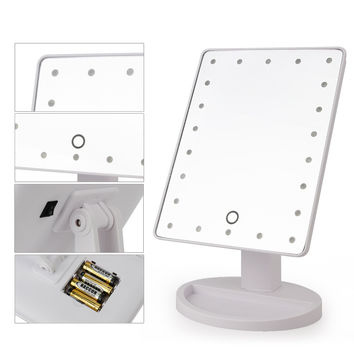 Brightness Adjustable Touch Screen Make Up Mirror 360 Degree Rotation 22 LED Lights Vanity Cosmetic Mirror Makeup Tool