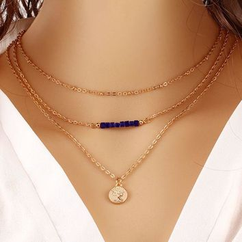 ONETOW Fashion trend beads beads necklace multi - layer metal temperament gold coins sequined chain