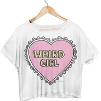 Summer Style Weird Girl Crop Tops White Color Women T Shirt Fashion Tee Punk T-shirt F986