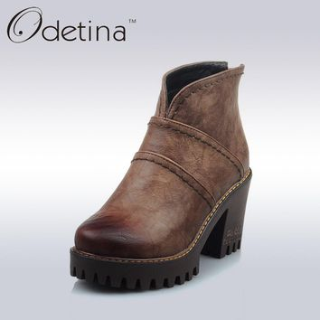 Odetina Retro Brown Women Chunky Heel Ankle Boots Ladies Back Zipper Platform Boots Spring&Autumn Large Size Casual Booties