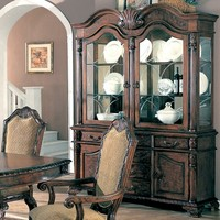 Saint Charles Deep Brown Wood Finish Buffet and Hutch with Two Glass Doors
