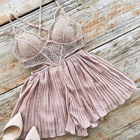 Sexy Hollow Out Lace Irregular Backless Halter Skirt
