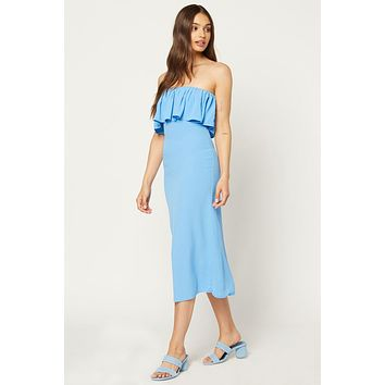 Fiona Strapless Ruffle Bandeau Midi Dress - Skyfall Blue