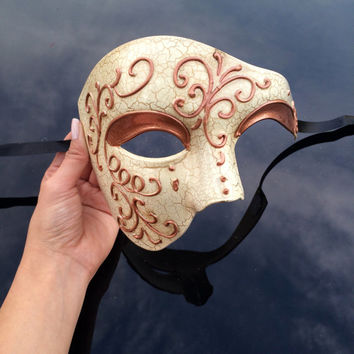 Men's Masquerade Mask, Masquerade Mask Men, Rose Gold Mask, Venetian Rose Gold Lining Half Men Face Masquerade Mask
