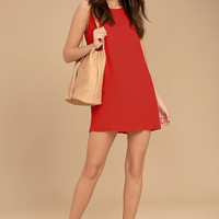Sassy Sweetheart Coral Red Shift Dress