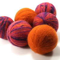 Wool Dryer Balls - Orange and Purple Striped Felted Wool Dryer Balls - Eco-Friendly Laundry Balls - Chemical Free Laundry - cat toy