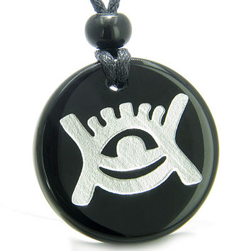 Amulet Universe Energy Supernatural All Seeing Eye Crystal Black Agate Pendant Necklace