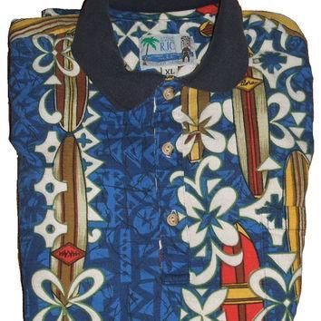 Mens Hawaiian Shirt RJC LTD Hawaii Barkcloth Surfboards Tropical Blue White Floral Alo