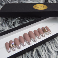 Matte Mauve Press On Nails with Rose Gold Glitter Tips | Swarovski Crystals | Any Shape and Size | Fake False Glue On Nails