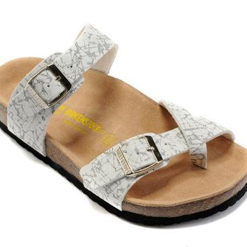 Birkenstock Summer Fashion Leather Cork Flats Beach Lovers Slippers Black and White St