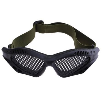 Outdoor Eye Protective Eyeglasses Comfortable Airsoft Safety Tactical Glasses Goggles Anti Fog With Metal Meshs Protect (Black)
