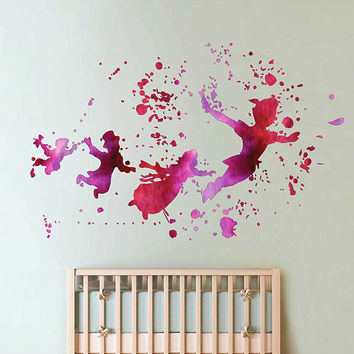 cik1821 Full Color Wall decal Watercolor Peter Pan Baby room cot