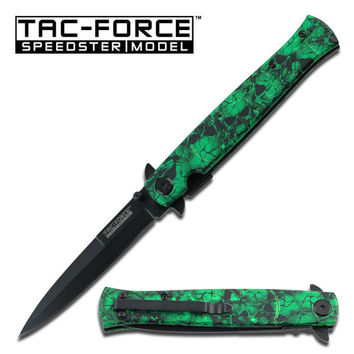 Stiletto Style Green Skull Camo Coated Handle Assisted Opening Knife