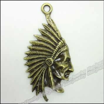 20pcs Vintage Charms Native American Indian Chief  Pendant Antique bronze Zinc Alloy Fit Bracelet Necklace DIY Jewelry Findings