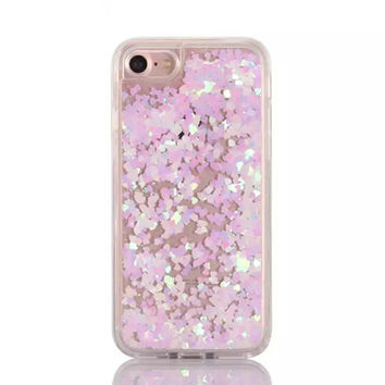 Iridescent Pink Hearts and Liquid Glitter Case for iPhone 7