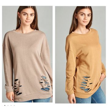 Dusty Mustard Distressed Terry Tunic