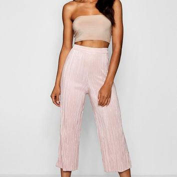 Ruby Pleated Wide Leg Cropped Culottes | Boohoo