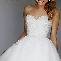 Short Ivory Strapless Sweetheart Sherri Hill Dress