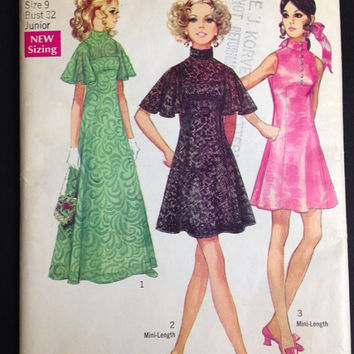Simplicity 8489 sewing pattern mini dress maxi Flutter sleeves High neck 1969 Slip Uncut Bust 32 Junior